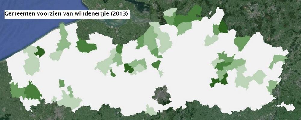 Gemeenten voorzien van windenergie in Vlaanderen in 2013